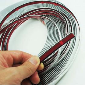 QEEPY Lis Dekorasi Interior Eksterior Mobil Moulding Chrome Trim Strip 6mmx15M - C3578 - Silver - 3