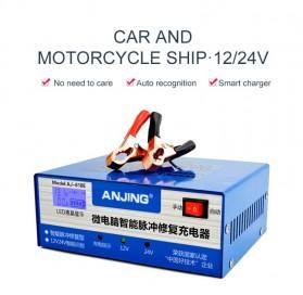 ANJING Charger Aki Mobil Motor 130W 12V/24V 200AH + LCD - AJ-618E - Blue - 2