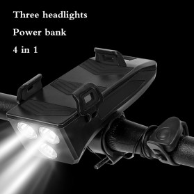 ANLOOK 4 in 1 Lampu Sepeda Smartphone Holder + Power Bank 2000mAh + Klakson - AN04 - Black - 3