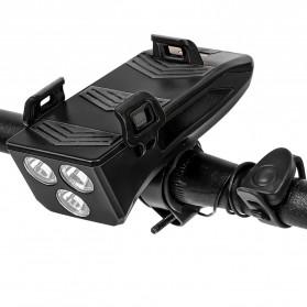 ANLOOK 4 in 1 Lampu Sepeda Smartphone Holder + Power Bank 2000mAh + Klakson - AN04 - Black - 4