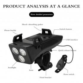 ANLOOK 4 in 1 Lampu Sepeda Smartphone Holder + Power Bank 2000mAh + Klakson - AN04 - Black - 5