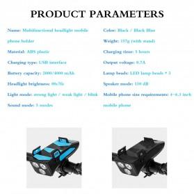 ANLOOK 4 in 1 Lampu Sepeda Smartphone Holder + Power Bank 2000mAh + Klakson - AN04 - Black - 6