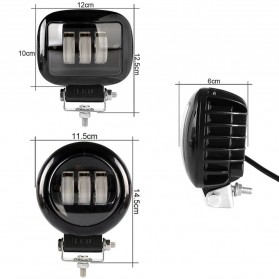 XuanBa Lampu Mobil ATV SUV Truck LED 6D Lens 4 Inch 30W Round Design - X6 - Black - 11