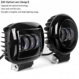 XuanBa Lampu Mobil ATV SUV Truck LED 6D Lens 4 Inch 30W Rectangle Design - X6 - Black - 4