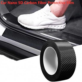 MSUE Stiker Pelindung Mobil Protector Carbon Fiber Car Wrap Film Vynil 7 cm x 5 Meter - C3841 - Black - 2