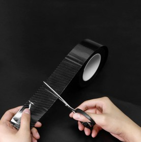 MSUE Stiker Pelindung Mobil Protector Carbon Fiber Car Wrap Film Vynil 5 cm x 5 Meter - C3841 - Black - 4