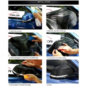 KARLOR Stiker Vinyl Carbon Fiber Dekorasi Mobil 100 x 30 CM - C0296 - Black - 8