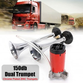 HEYVO Klakson Trompet Mobil Dual Air Horn 150dB 12V - TZ-320 - Silver