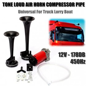 HEYVO Klakson Trompet Motor Mobil Dual Air Horn 178dB 12V - TZ-320 - Black - 3