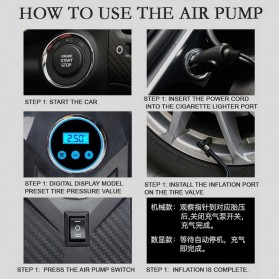Carsun Inflator Pompa Angin Ban Mobil Car Compressor 80W - C1399-1 - Black/Yellow - 4