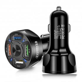 Maerknon Car Charger Mobil USB 3 Port 2.1A + 1 Port QC3.0 18W - BK-358 - Black
