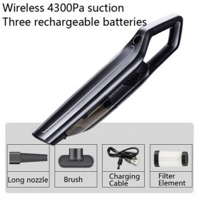 SUNSKY Handheld Vacuum Cleaner Penyedot Debu Mobil Wireless 4300Pa - A-021 - Black - 4