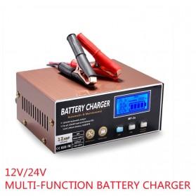 HCOLORY Charger Aki Mobil Motor 130W 12V/24V LCD Display - MF-2e - Black/Brown
