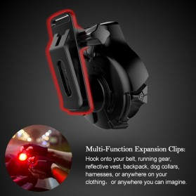 TWOOC Backlamp Lampu Sepeda USB Rechargeable - Black - 3