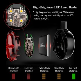 TWOOC Backlamp Lampu Sepeda USB Rechargeable - Black - 4