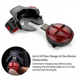 TWOOC Backlamp Lampu Sepeda USB Rechargeable - Black - 5