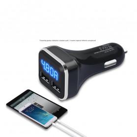 CARPRIE Car Charger Smartphone 2 Port 4.8A QC3.0 LCD Display - 9726 - Black - 3