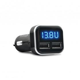 CARPRIE Car Charger Smartphone 2 Port 4.8A QC3.0 LCD Display - 9726 - Black - 6