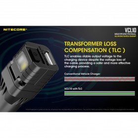Nitecore USB Car Charger 1 Port QC3.0 with Emergency LED Light + Glass Breaker - VCL10 - Black - 6
