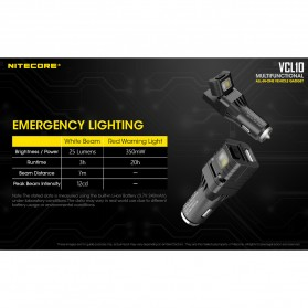 Nitecore USB Car Charger 1 Port QC3.0 with Emergency LED Light + Glass Breaker - VCL10 - Black - 8