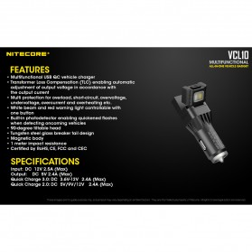 Nitecore USB Car Charger 1 Port QC3.0 with Emergency LED Light + Glass Breaker - VCL10 - Black - 10