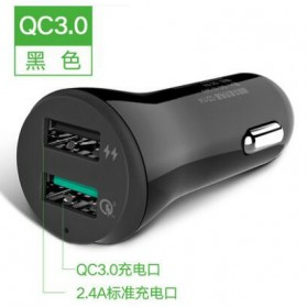 UGreen Smartphone Car Charger Mobil 2 Port 2.4A Quick Charge 3.0 - Black