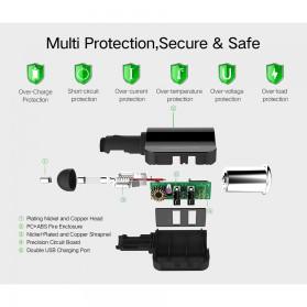 UGreen Car Charger 2 USB Port 3.4A dengan Cigarette Plug - CD115 - Black - 5