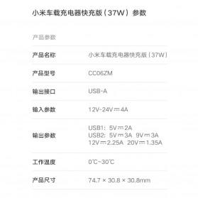 Xiaomi Mi Car Charger Mobil Fast Charger Version 2 Port 37W - CC06ZM - Black - 8