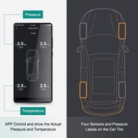 Xiaomi 70mai Midrive Monitoring Tekanan Ban Mobil Wireless Real Time TPMS Solar Power Internal Sensor- T01 - Black - 5