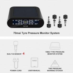 Xiaomi 70mai Midrive Monitoring Tekanan Ban Mobil Wireless Real Time TPMS Solar Power Internal Sensor- T01 - Black - 7