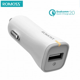 Romoss Car Charger Smartphone Mobil 1 Port 2.4A Quick Charge 2.0 - AU15 - White