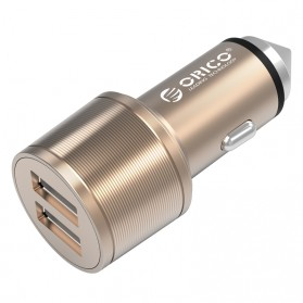Orico Dual USB Car Charger Safety Hammer 2.4A for Smartphone - UCI-2U - Golden
