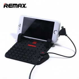 Remax Super Flexible Car Holder with Micro USB & Lightning Charger Function - Black