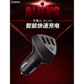Remax Charger Mobil Aliens Series Car Charger 3 USB 4.2A - RC-C304 - Black - 4