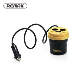Remax Charger Mobil 2 Port USB & 2 Cigarette Plug - CR-2XP - Black/Yellow