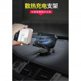 Remax Car Holder Charger Smartphone dengan 2 Cooling Fan - RT-EM14 - Black - 10