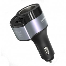Remax USB Car Charger 2 Port 4.8A dengan Cigarette Plug - RCC-218 - Black