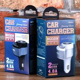 Remax USB Car Charger 2 Port 4.8A dengan Cigarette Plug - RCC-218 - Black - 5