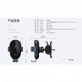 Remax Car Wireless Charger Intelligent Sensor Air Vent Mount - RM-C39 - Black - 6