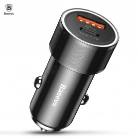 Baseus USB Car Charger Mobil 2 Port USB Type C QC 3.0 36W - Black