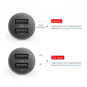 Baseus Car Charger Mobil 2 USB Port 3.4A with Lightning Cable - BSC-C15N - Black - 5