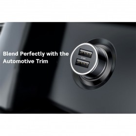 Baseus Car Charger Mobil 2 USB Port 3.4A with Lightning Cable - BSC-C15N - Black - 8