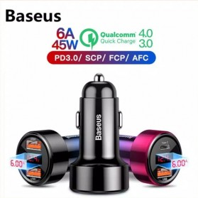Baseus Car Charger 2 Port USB Type C 6A 45W LED Display - CCMLC20C-01 - Black - 5