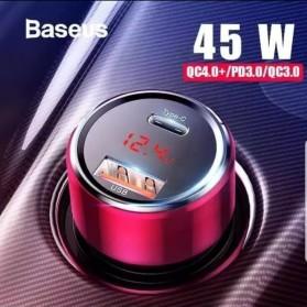 Baseus Car Charger 2 Port USB Type C 6A 45W LED Display - CCMLC20C-01 - Black - 7