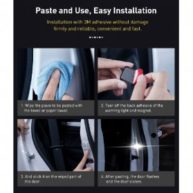 Baseus Lampu LED Pintu Mobil Door Open Warning Light 2 PCS - CRFZD-01 - Black - 8