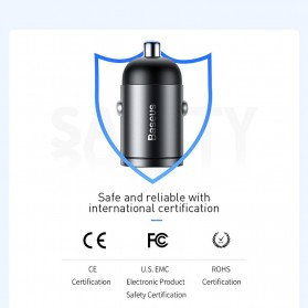 Baseus Tiny Star Car Charger Mobil 1 USB Type C Port 5A 30W with Type C to Lightning Cable - TZVCHX-0G - Black - 9