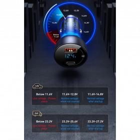 Baseus Car Charger 2 Port USB Type C 6A 65W LED Display - CCKX-C0A - Black - 10