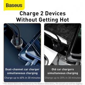 Baseus Car Charger 2 Port USB Type C 6A 65W LED Display - CCKX-C0A - Black - 3