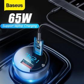 Baseus Car Charger 2 Port USB Type C 6A 65W LED Display - CCKX-C0A - Black - 5