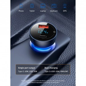 Baseus Car Charger 2 Port USB Type C 6A 65W LED Display - CCKX-C0A - Black - 6